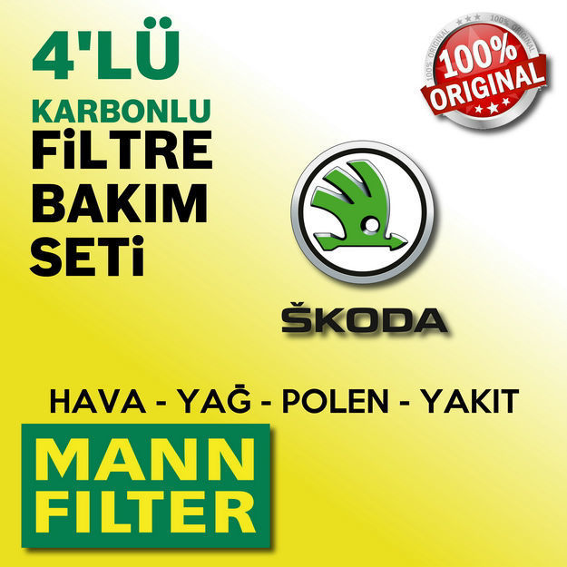Skoda Roomster 1.4 Tdi Mann-filter Filtre Bakım Seti 2006-2010 resmi