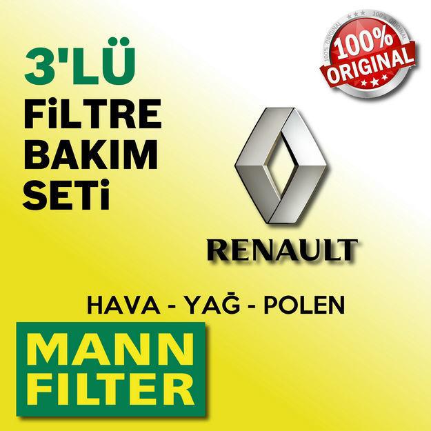 Renault Clio 4 1.2 Mann-filter Filtre Bakım Seti 2012-2016 resmi