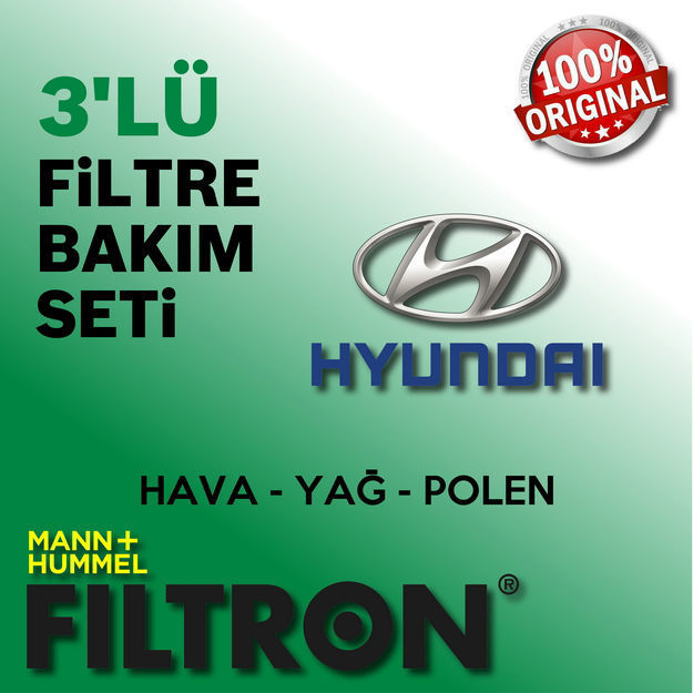 Hyundai Accent Blue 1.4 Cvvt Filtron Filtre Bakım Seti 2011-2016 resmi
