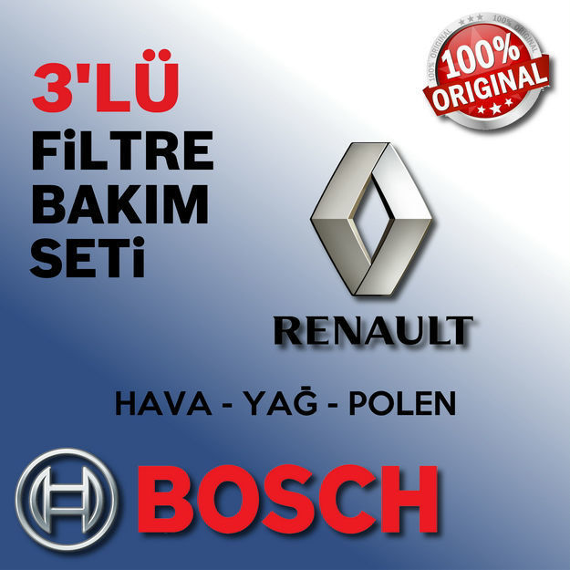 Renault Clio 2 1.5 Dci Bosch Filtre Bakım Seti 2001-2007 resmi