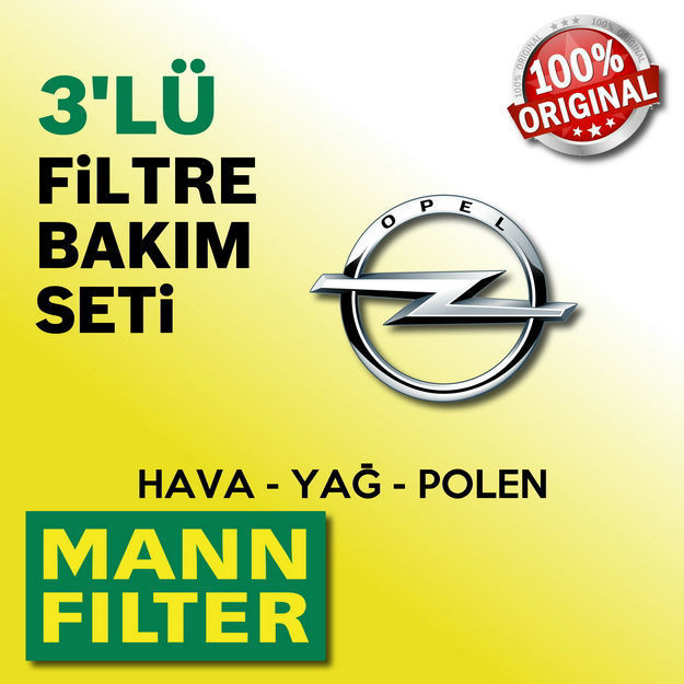 Opel Corsa C 1.2 Twinport Mann-filter Filtre Bakım Seti 2005-2007 resmi