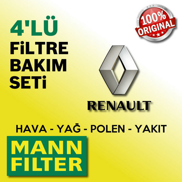 Renault Clio 4 1.5 Dci Mann-filter Filtre Bakım Seti 2012-2016 resmi