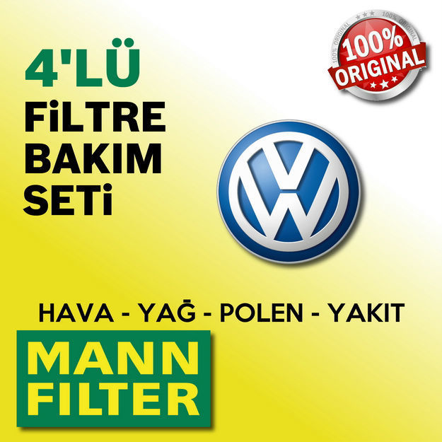 Vw Transporter T5 2.0 Tdi Mann-filter Filtre Bakım Seti 2010-2014 resmi