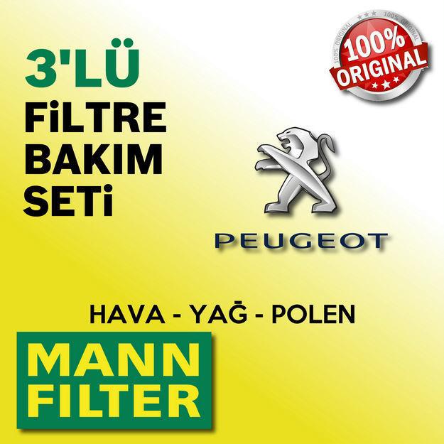 Peugeot 206 1.4 Mann-filter Filtre Bakım Seti 1998-2009 resmi